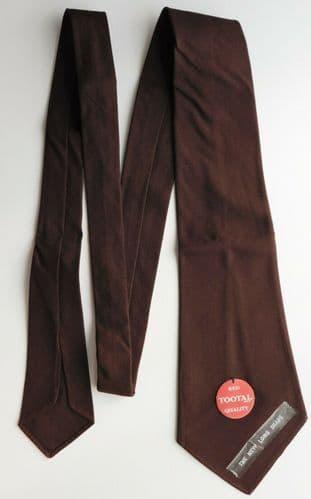 Tootal tie plain brown UNUSED vintage 1950s Tebilized cotton SHORT mens wear